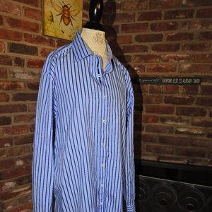 Bugatchi Blue Striped Classic Fit Shirt